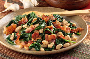 White Beans with Bacon & Garlicky Greens