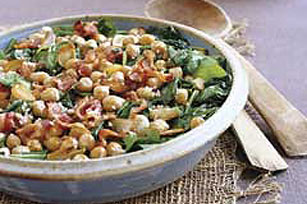 Wilted Spinach with Baked Garbanzo Beans