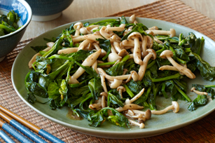 Wok-Fried Snow Pea Tips & Mushrooms