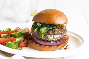 Blue Cheese Stuffed Burger with Red Onion and Spinach Image 1