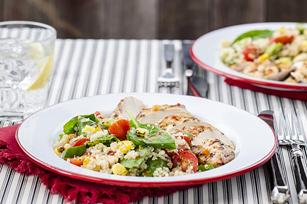 Chicken with Charred Corn, Tomato & Quinoa Salad