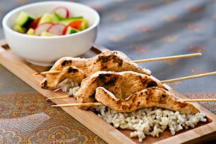 Chicken Satays on Rice with Cucumber Salad