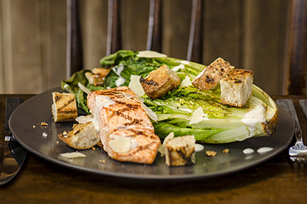 Grilled Salmon Caesar Salad with Warm Croutons