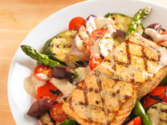 Grilled Salmon with Greek-Style Vegetables