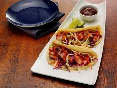Lime-Ginger BBQ Shrimp Tacos with Vegetable Slaw