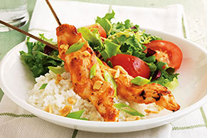 Easy Chicken Skewers with Peanut Sauce