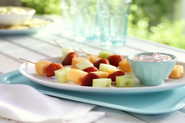 "Fruit Kabobs with Strawberry ""Margarita"" Dip"