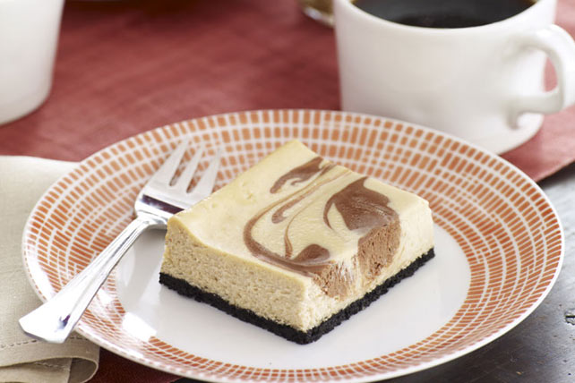Cappuccino Chocolate-Swirl Cheesecake Bars Image 1