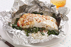 Foil-Pack Fish Florentine for Two