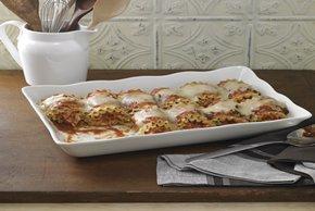 Enrolladitos picantes de lasaña con pollo