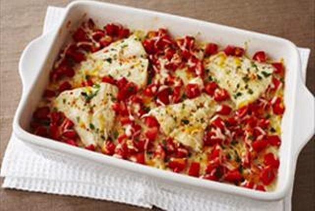 Cheesy Tomato Fish Bake Image 1