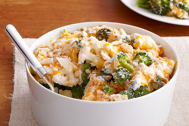Easy Cauliflower & Broccoli au Gratin