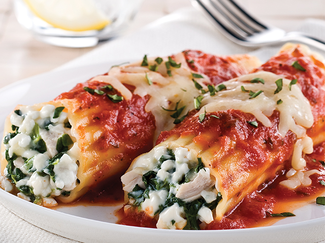 Chicken, Cheese & Spinach Manicotti Image 1