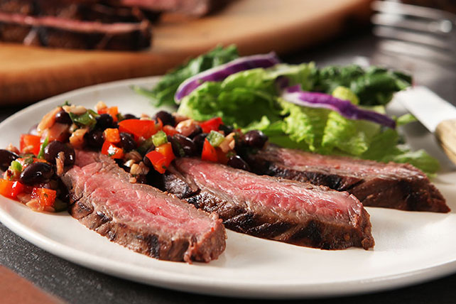 Flank Steak with Black Bean Salsa