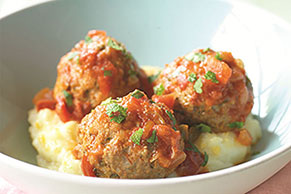 Lamb Meatballs with Fresh Mint & Cheesy Mashed Potatoes
