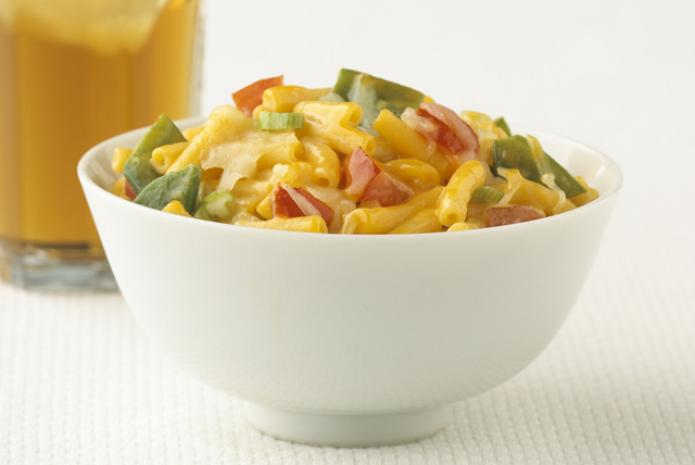 Cheesy Mac with Snow Peas & Tomatoes