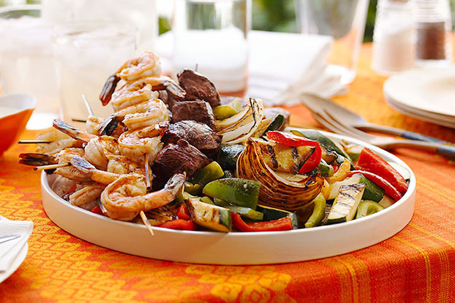 Skewered Surf & Turf with Grilled Vegetables Image 1