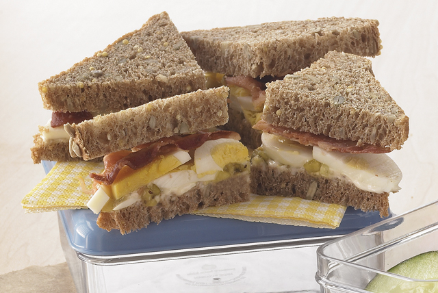 Layered Bacon and Egg Salad Sandwich Image 1