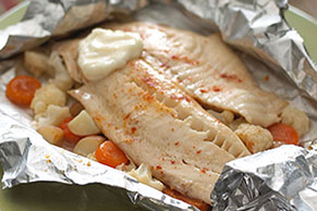 Baked Tilapia with Cauliflower & Pickled Carrots