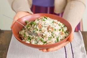 Sencillo risotto con tocino y chícharos