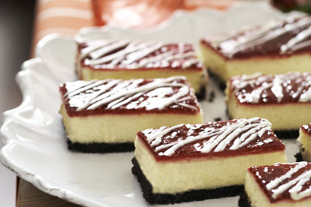 Barritas de cheesecake de chocolate blanco y frambuesa