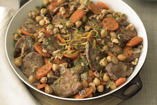 Pork Skillet with Chickpeas| Carrots & Raisins