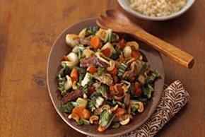 Beef Bok Choy Stir-fry with Sesame-Peanut Sauce