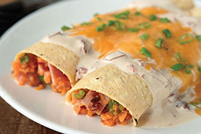 Sweet Potato Enchiladas in Creamy Chipotle Sauce