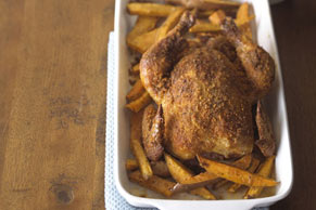 Crispy Roast Chicken with Sweet Potatoes