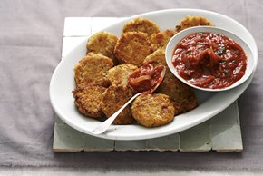 Garbanzo Cakes with Tomato Sauce