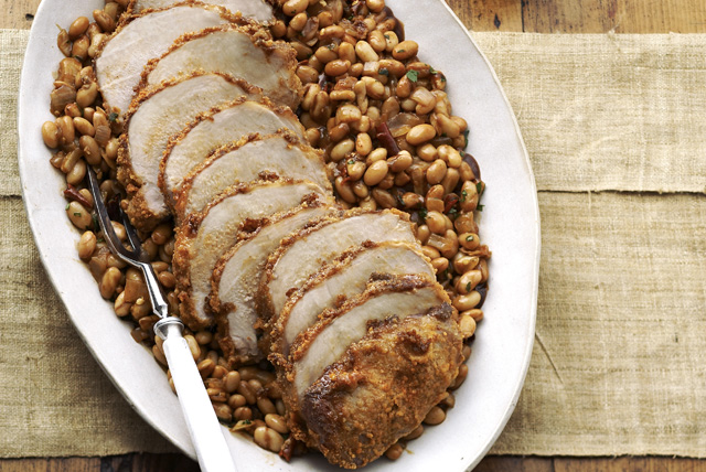 Crusted Roast Pork with White Beans Image 1