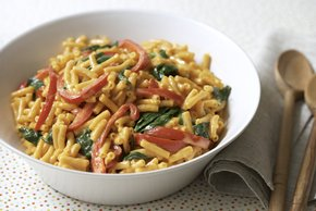 Mac and Cheese with Peppers and Spinach