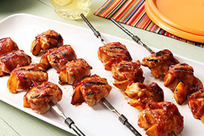 Barbecue Chicken and Peach Kabobs with Bacon