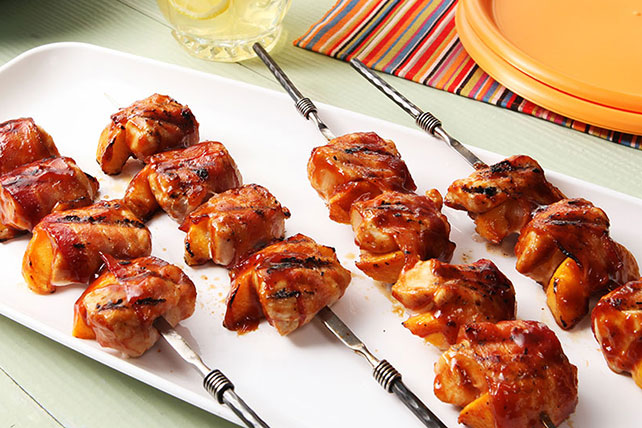 Barbecue Chicken and Peach Kabobs with Bacon Image 1