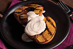 Grilled Peaches with Cinnamon-Sour Cream Sauce