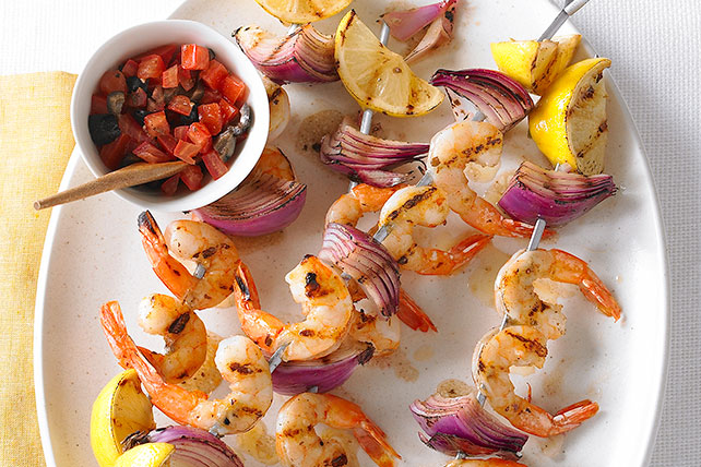 Shrimp Kabobs with Olive and Tomato Relish