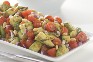 Grilled Avocado and Tomato Salad with Parmesan Pesto