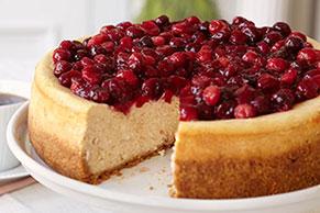 Cheesecake con canela y arándanos rojos