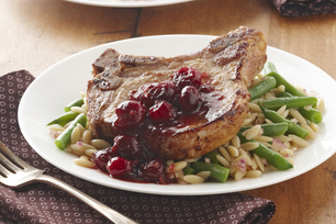 Quick Maple Pork Chops with Cranberries