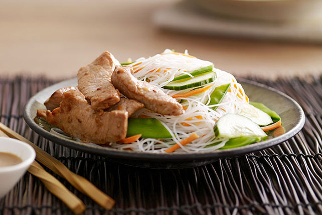 Pork with Noodles & Snow Pea Slaw