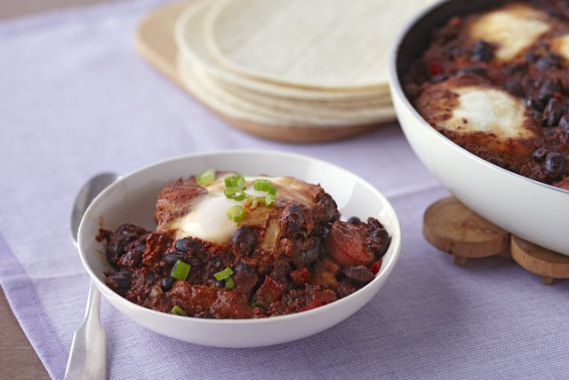 Poached Eggs in Black Bean Chili