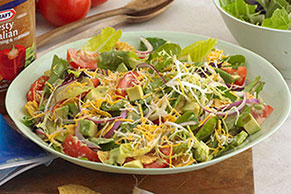 Chopped Salad with Tortilla Chips and Avocado Dressing