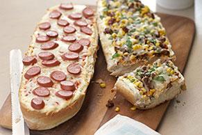 Pan de pizza a los dos quesos
