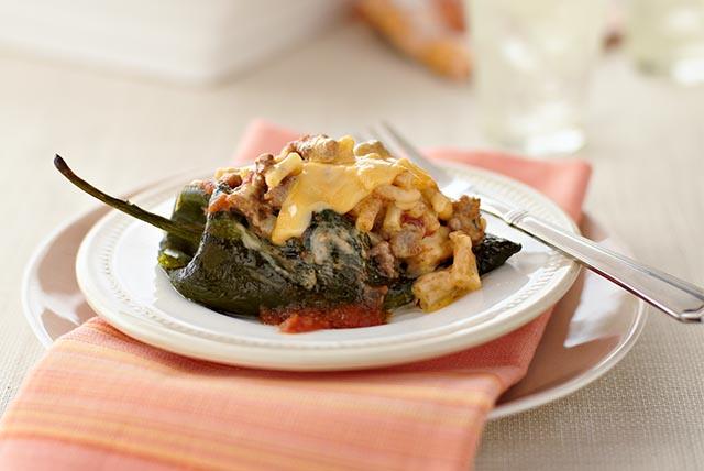 Beef & Macaroni Stuffed Poblanos Image 1