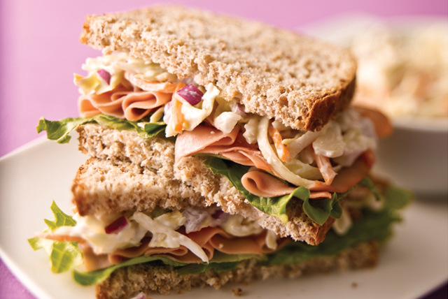 Ham and Coleslaw Sandwich