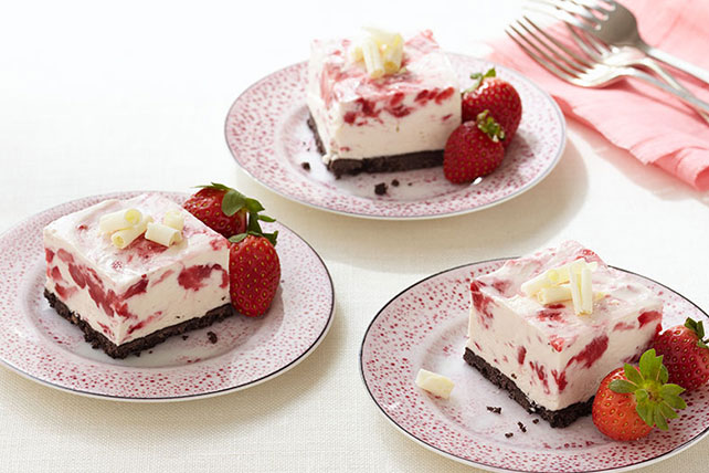 Frozen Strawberry-White Chocolate Mousse Squares Image 1