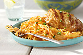 Grilled Chicken with Creamy Red Pepper Pasta