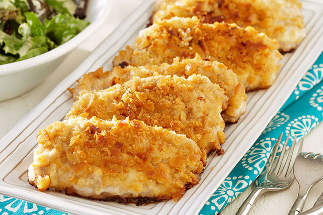 Breaded Pork Chops with Mustardy Greens Image 1