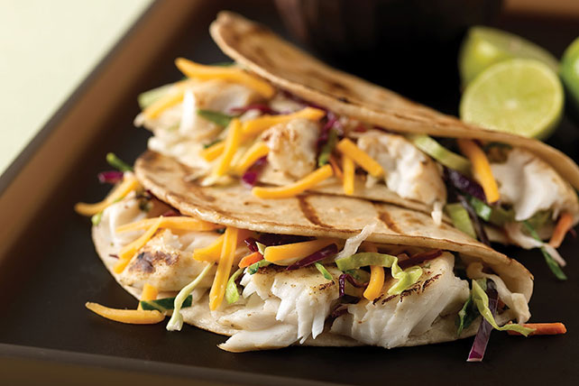 Grilled fish tacos with coleslaw for two kraft recipes for Fish tacos with coleslaw