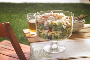 Layered Caesar, Shrimp & Pasta Salad